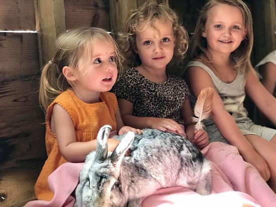 Dorset Heavy Horse Farm Park - Children holding rabbits